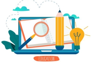 education-online-training-courses-distance-education-vector-illustration